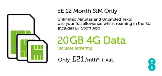 Business SIM Only Deal EE £21