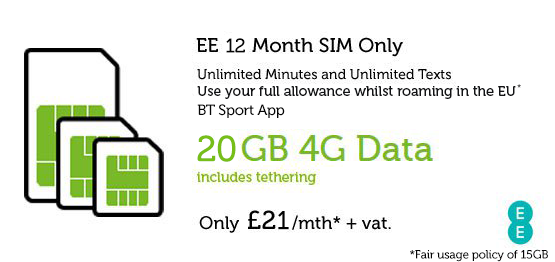 20GB SIM Only £21.00