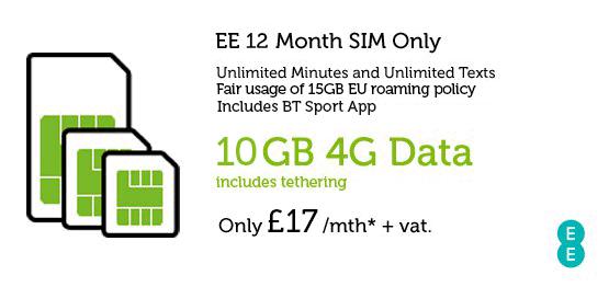 10GB SIM Only £17