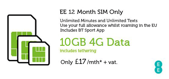Business SIM Only Deal EE £17